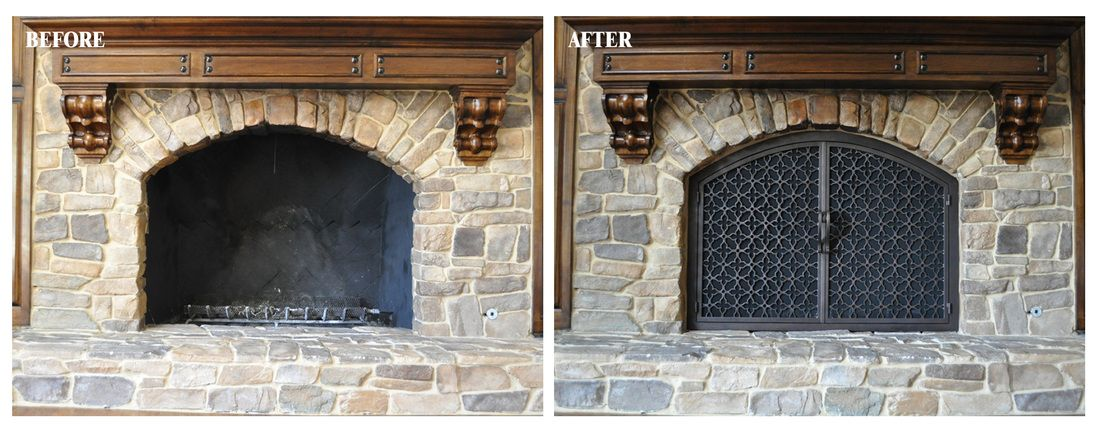 Arched Before After Ams Fireplace Custom Built Wrought Iron