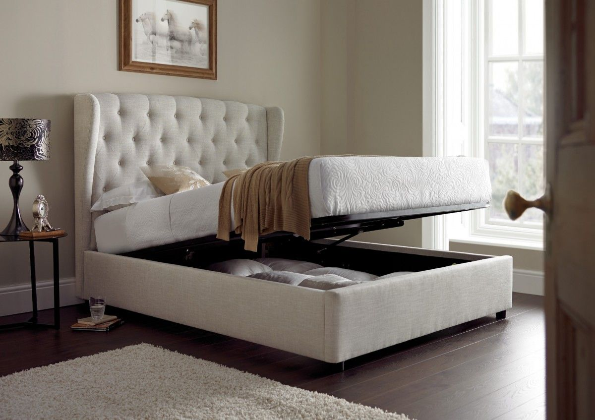 Symphony Upholstered Winged Ottoman Storage Bed Natural