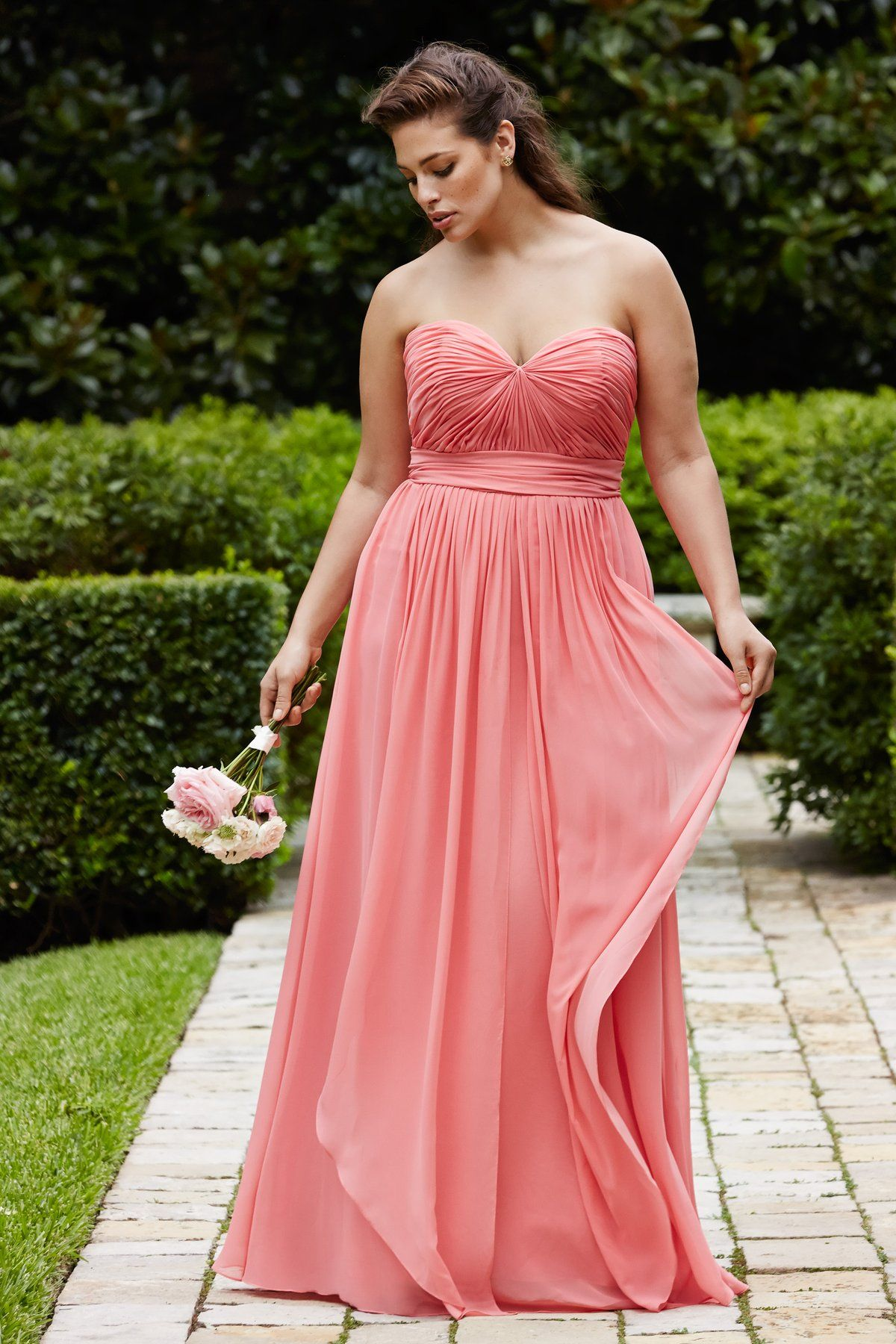 simple with pleated plus size custom made chiffon pattern bridesmaid ...