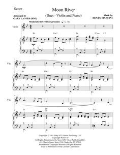 Moon River Duet Violin And Piano Score And Parts Piano Score