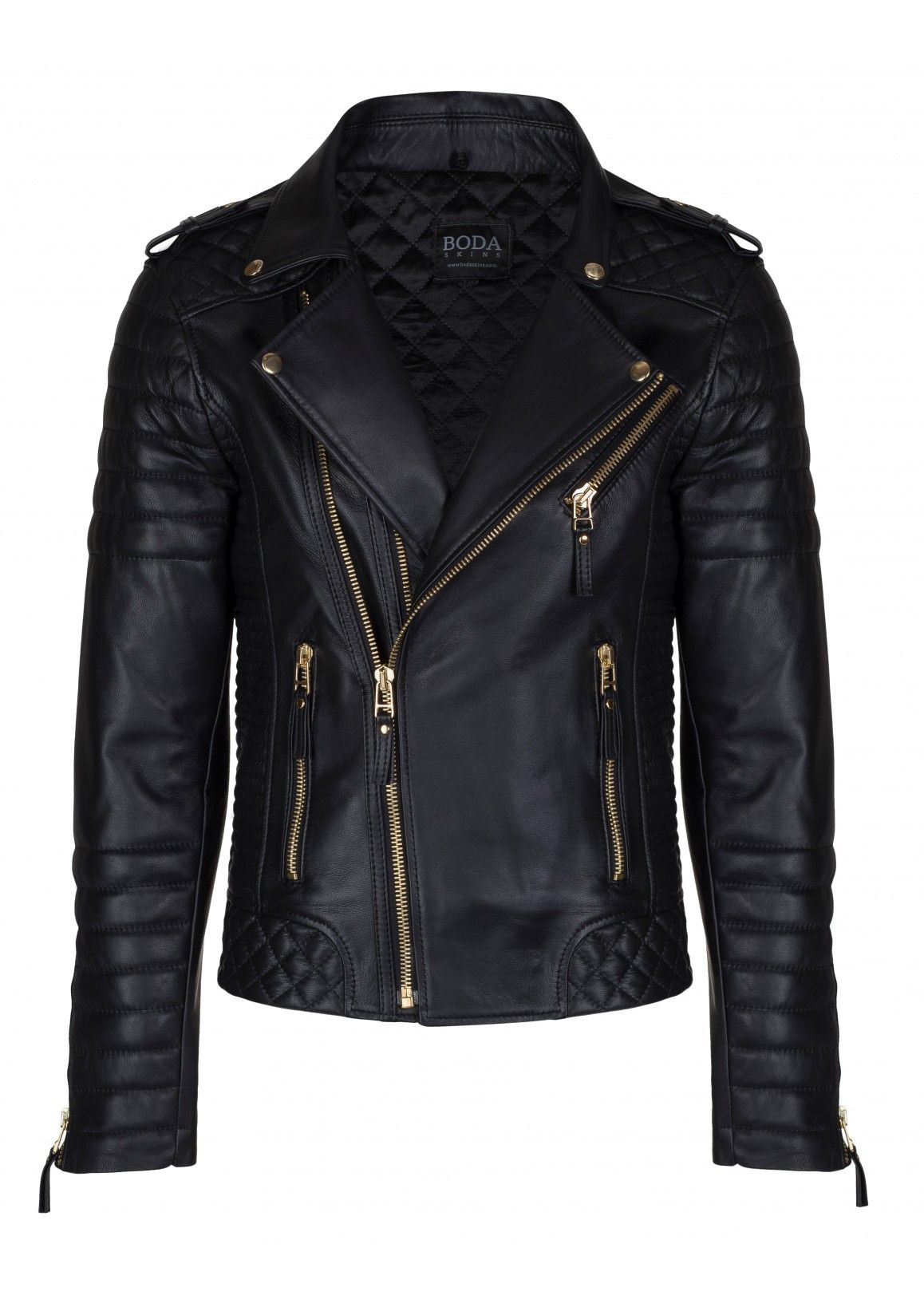 Kay Michaels Quilted Biker Oil Black Gold Hardware Leather Jacket Men Leather Jacket Style Washed Leather Jacket