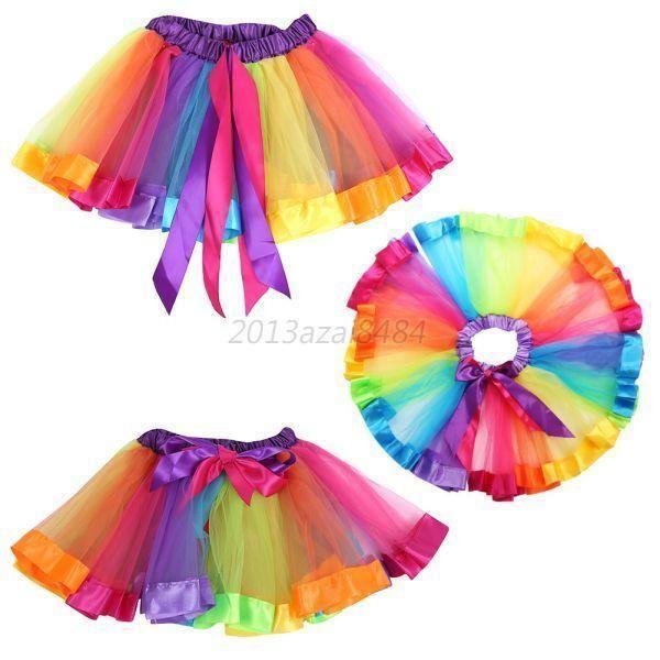 Kids Child Girls Rainbow Colorful Tutu Skirt Tulle Tutu Mini Dress Dancewear UK