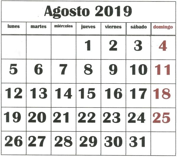Calendario Agosto 2019 Numeros Grandes.Agosto 2019 Calendars Calendario Para Imprimir