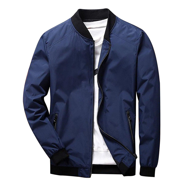 Men S Long Sleeve Slim Fit Lightweight Bike Motocycle Cotton Bomber Jacket Dark Blue Cg189leu20d Bomber Jacket Mens Outerwear Jacket Mens Clothing Styles [ 1500 x 1500 Pixel ]