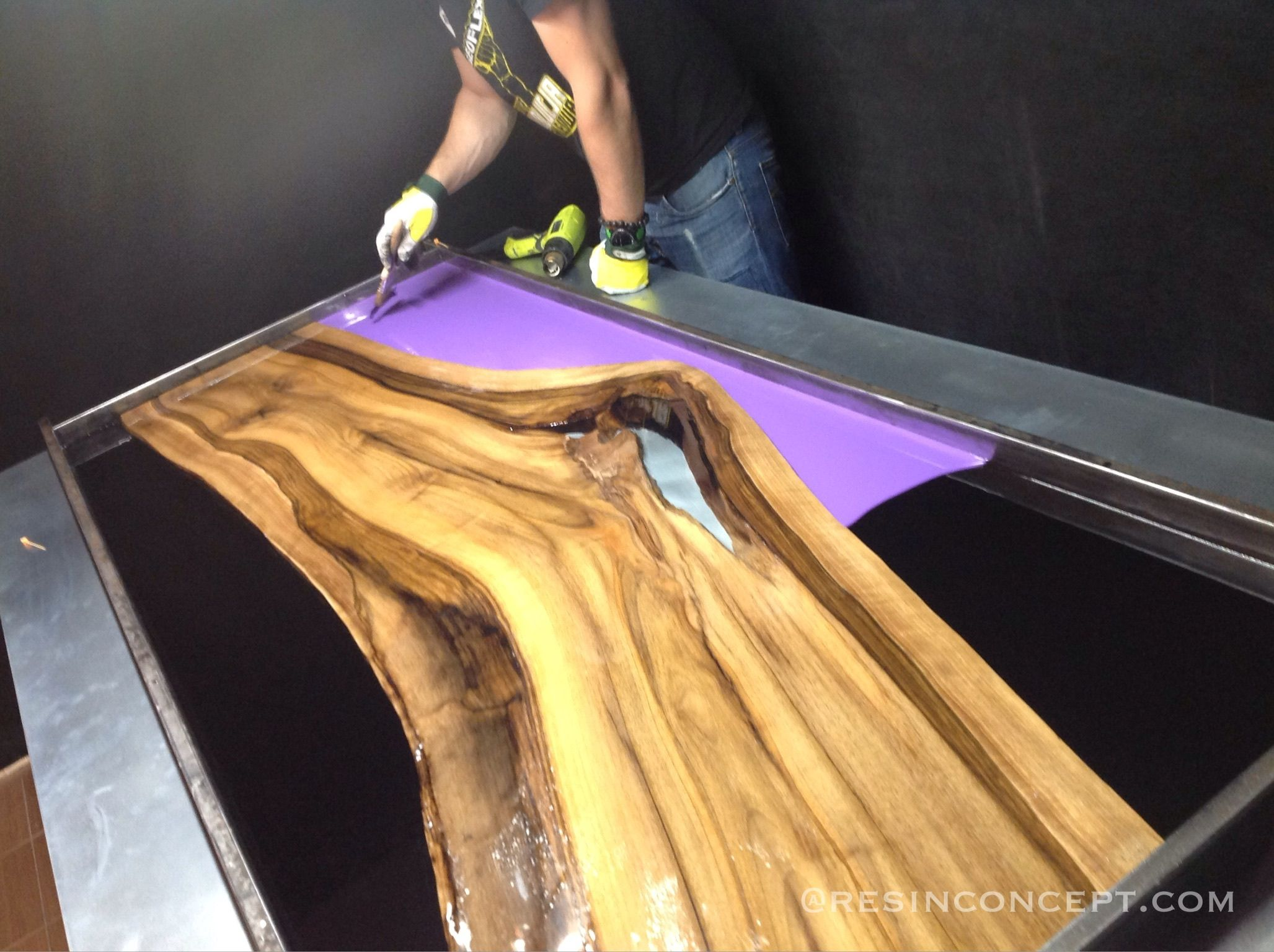 Colored Epoxy Resin In Combination With Walnut Furniture