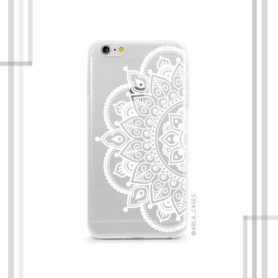 White Half Mandala Clear Phone Case Clear Iphone Case With Henna