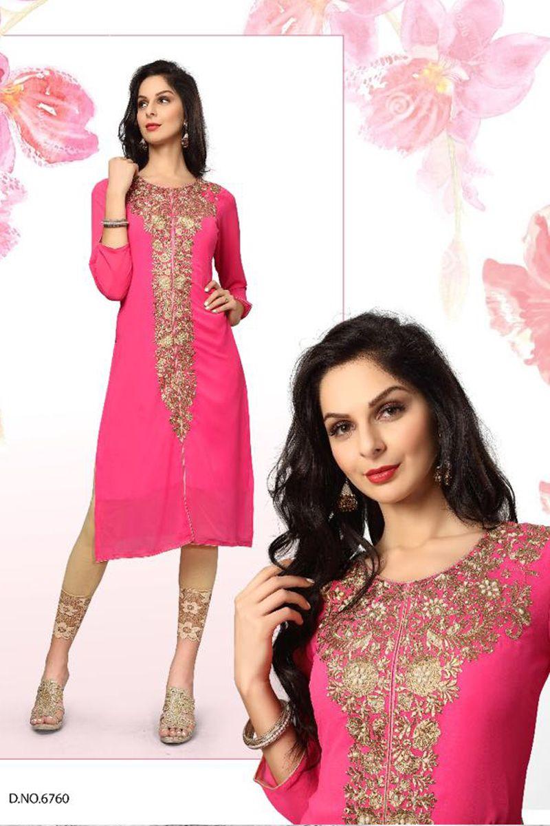 pink desiner real georgette party wear kurti 6760