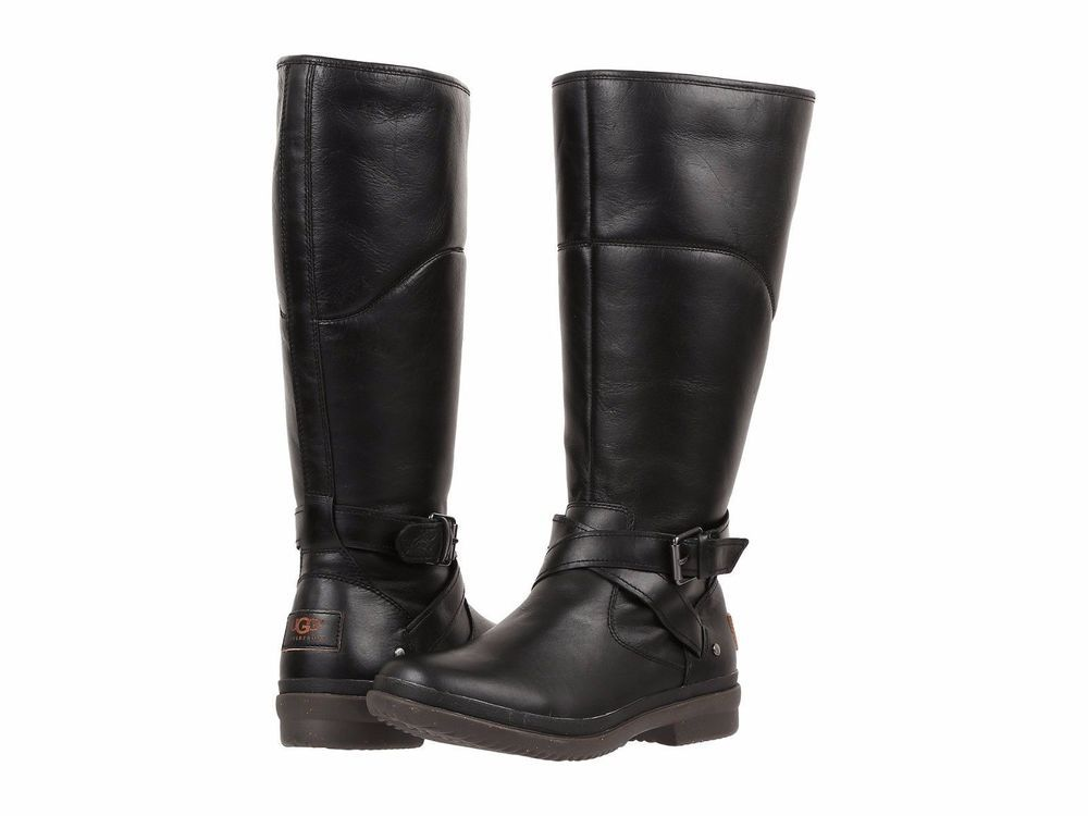 16b8920ec68 Ugg Australia Womens Evanna Black Tall Leather Boots Size 9.5 ...