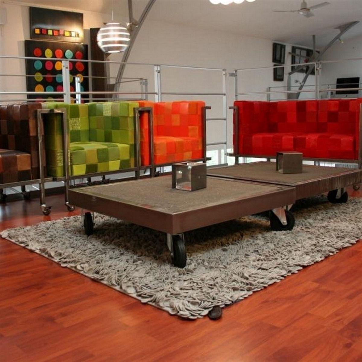 Table Basse Mtal Et Bton Cir Sur Roulettes De Chez