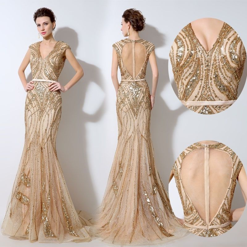f9b8c5445af Long Formal Evening Gowns Gold Champagne Luxury Pageant Party Dresses Open  Back