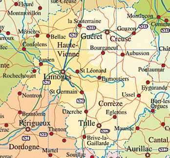 Map of France Limousin area France Limousin Dourdogne