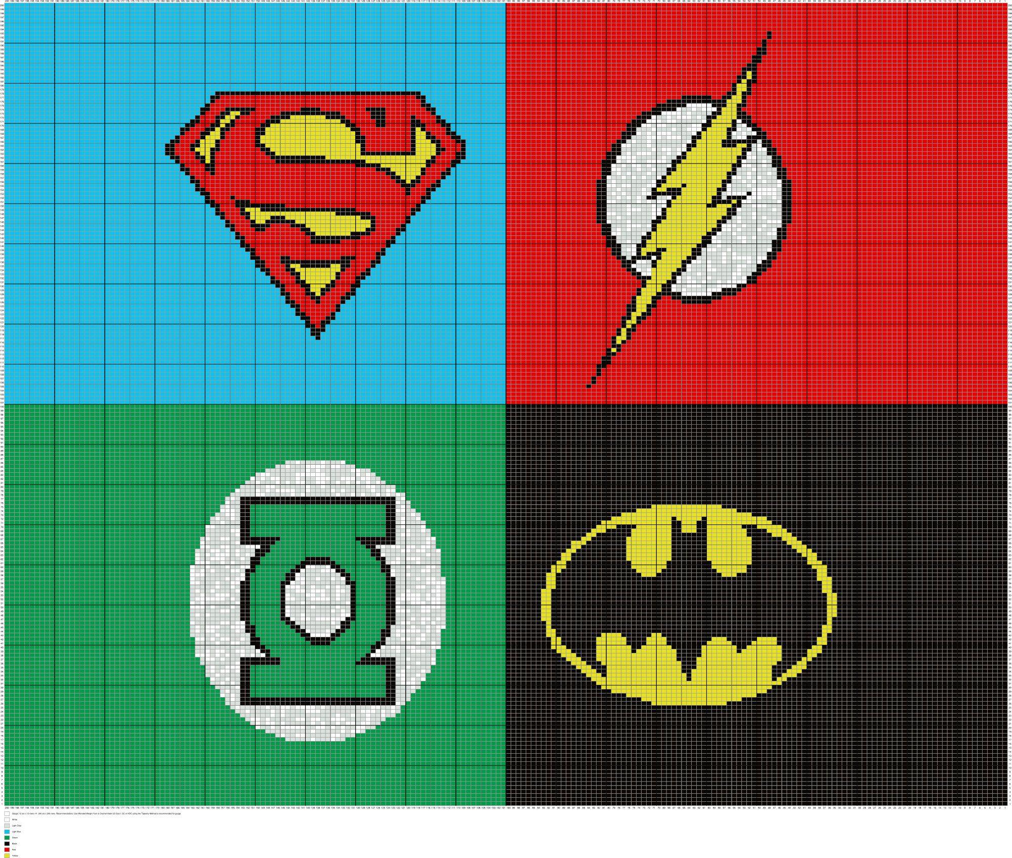 Crochet Superhero Symbols Written Graph Afghan Pattern, Superman ...
