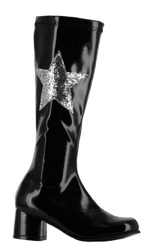Girls Gogo Boots With Star - Black Footwear Accessory