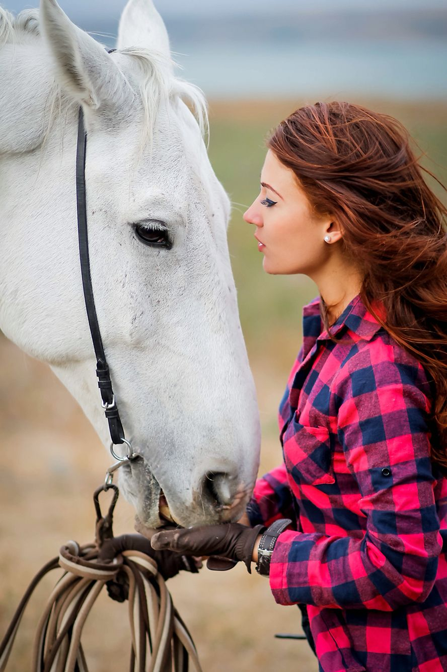 Girl horse dramatic photo