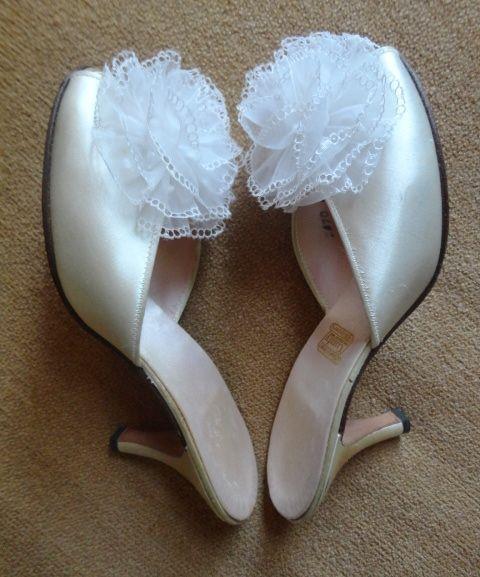 Lovely vintage 1950 39 s daniel green bridal high heel - Ladies bedroom slippers with heel ...