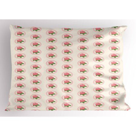 Floral Pillow Sham Country Farmhouse Theme with Rose Blooms and ...
