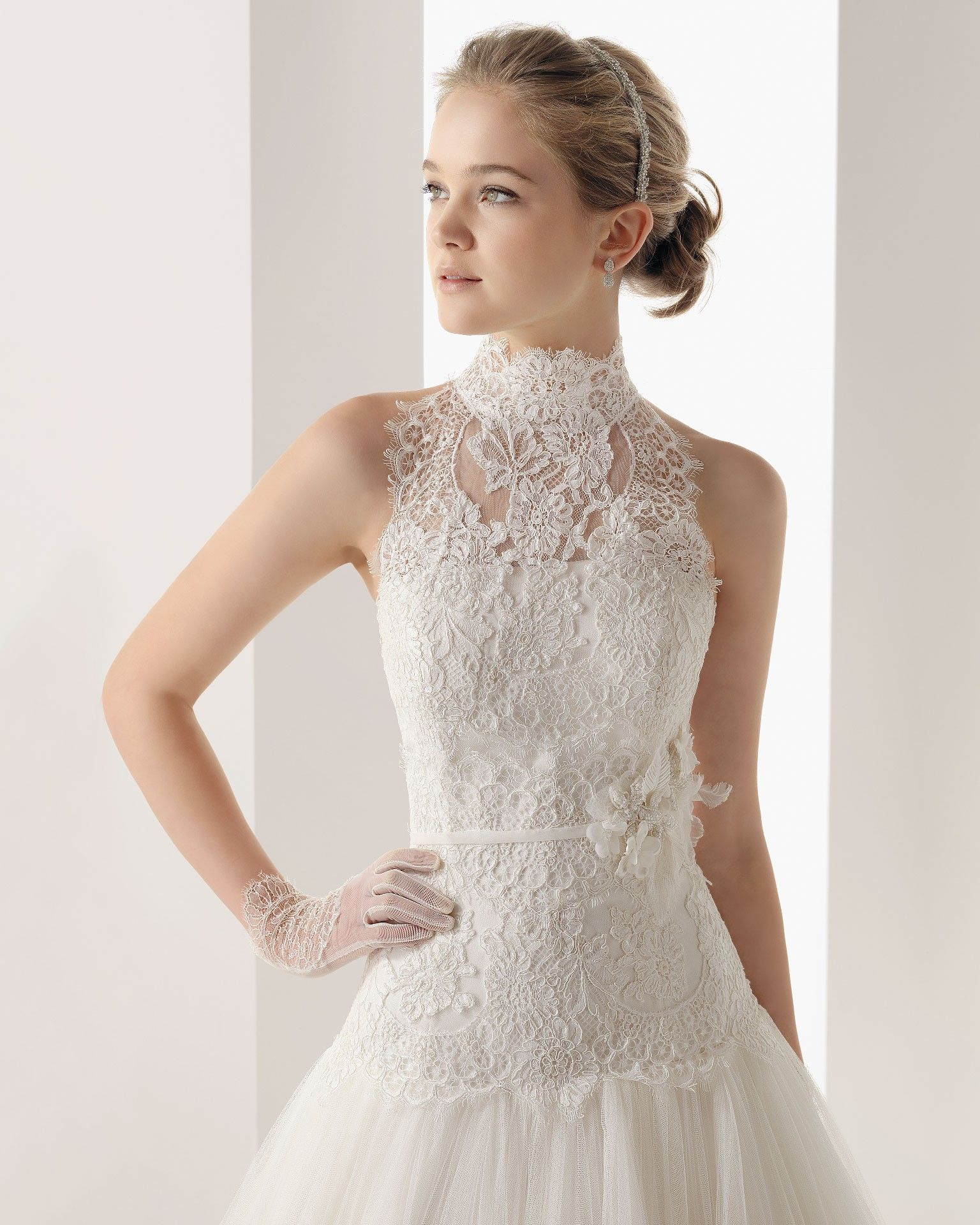 Wedding lace wro | Tulle High Neck Chapel Train A Line Wedding Dress ...