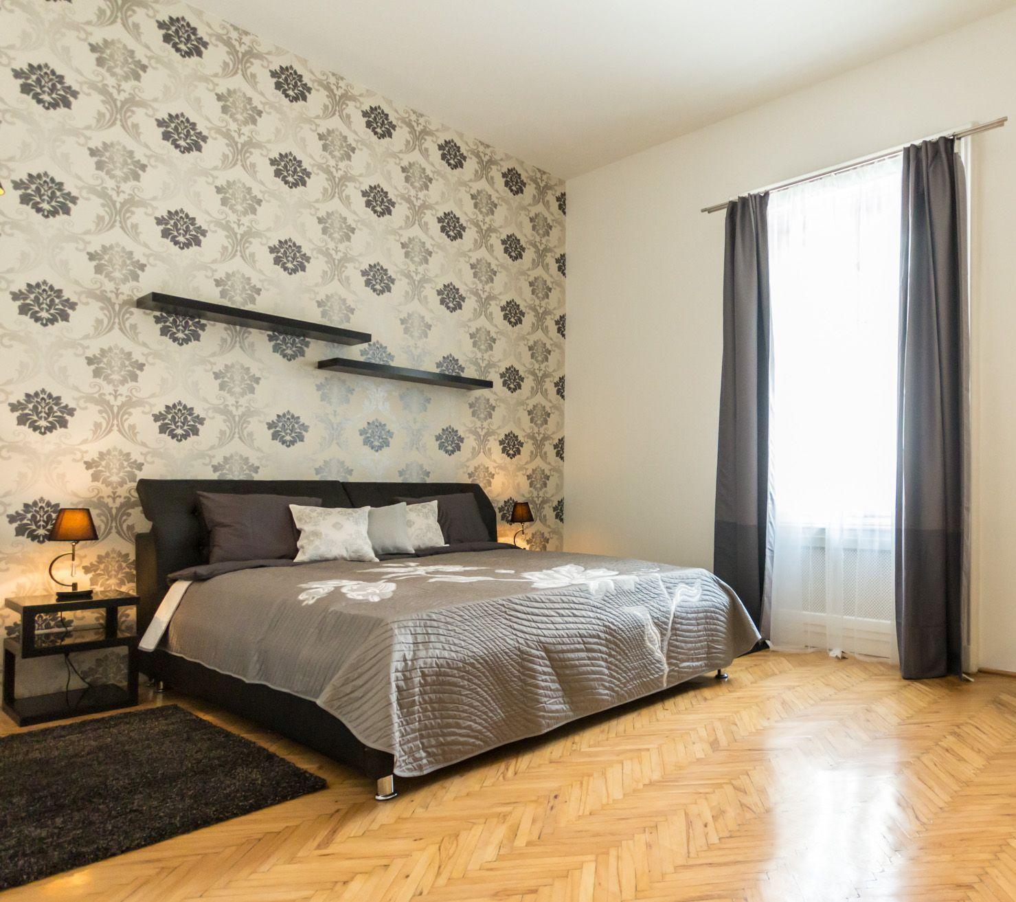 Classical, art&deco wallpaper, upholstered black bed / Budapest ...