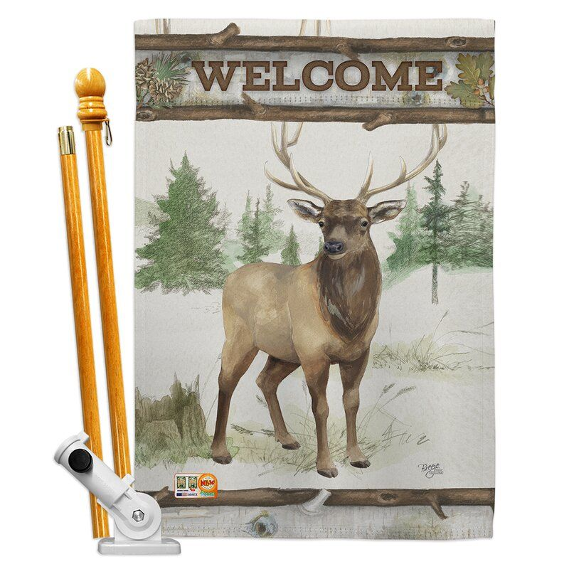 Welcome Deer 2 Sided Polyester 40 X 28 In Flag Set In 2020 Breeze Decor House Flags Fall Garden Flag