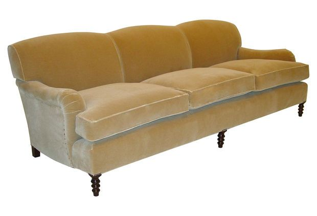 George Smith Standard 96 Mohair Velvet Sofa Beige Sofas Loveseats On