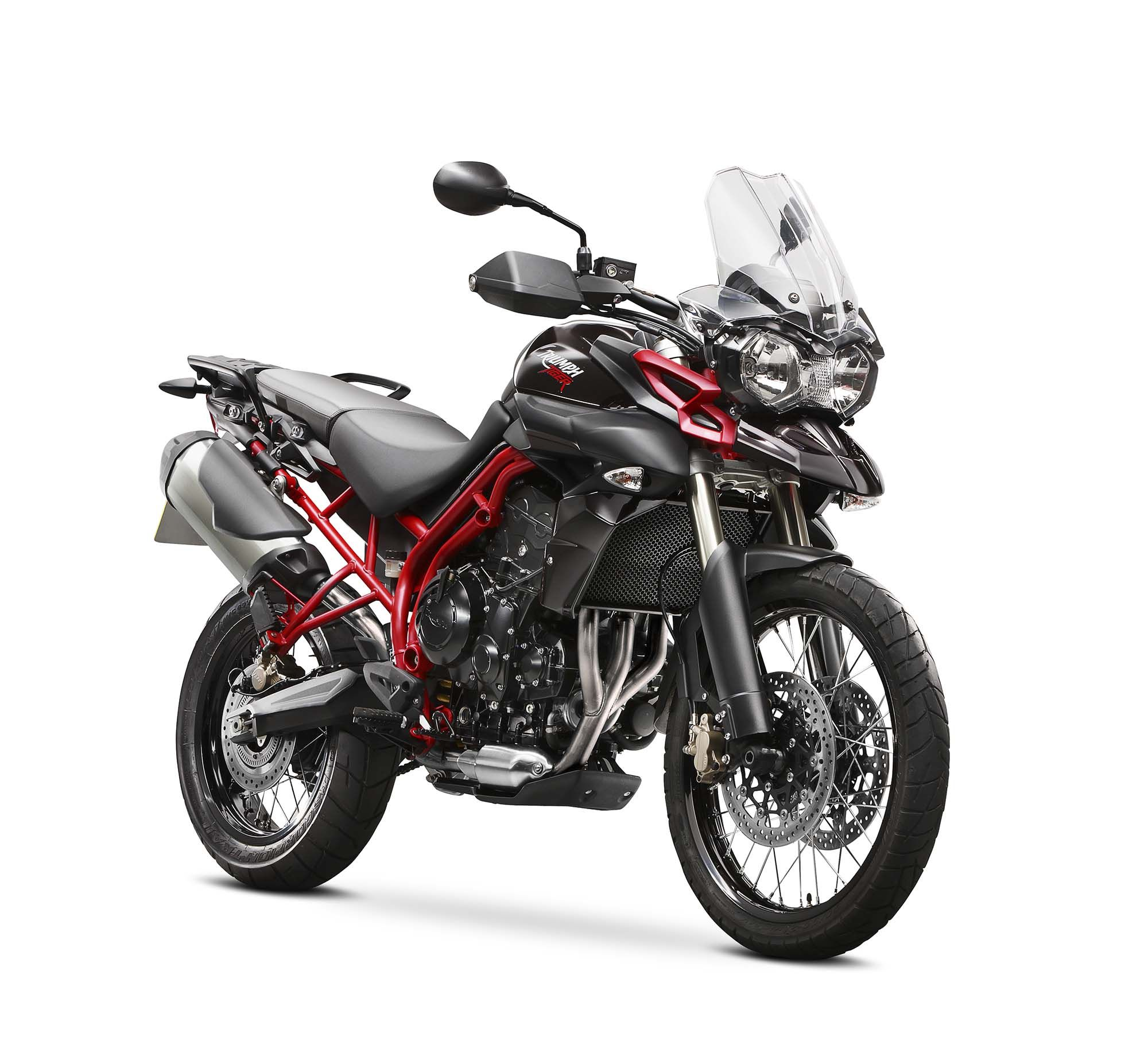 Like other recent special edition triumphs the 2014 triumph tiger 800 xc se wears a red frame and black paint no other upgrades are evident