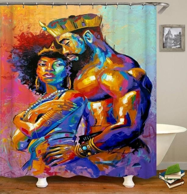 Black Love King Queen Shower Curtain In 2020 King Queen Black Love Curtains