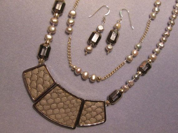 Grey Scale Necklace  Silver and Pearl by DecoArtworkJewelry, $139.00