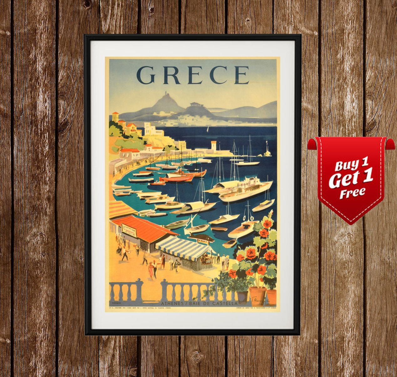 Vintage Greek Poros Travel Poster A3 Print