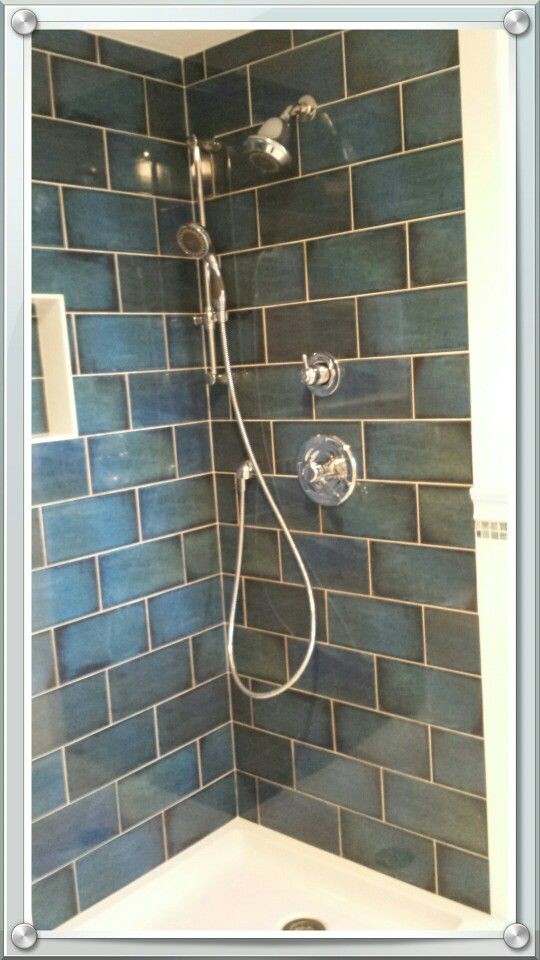 Master Bath Almost Completed Catania Blue Tile Blue Shower Tile Bathroom Wall Tile Bathrooms Remodel