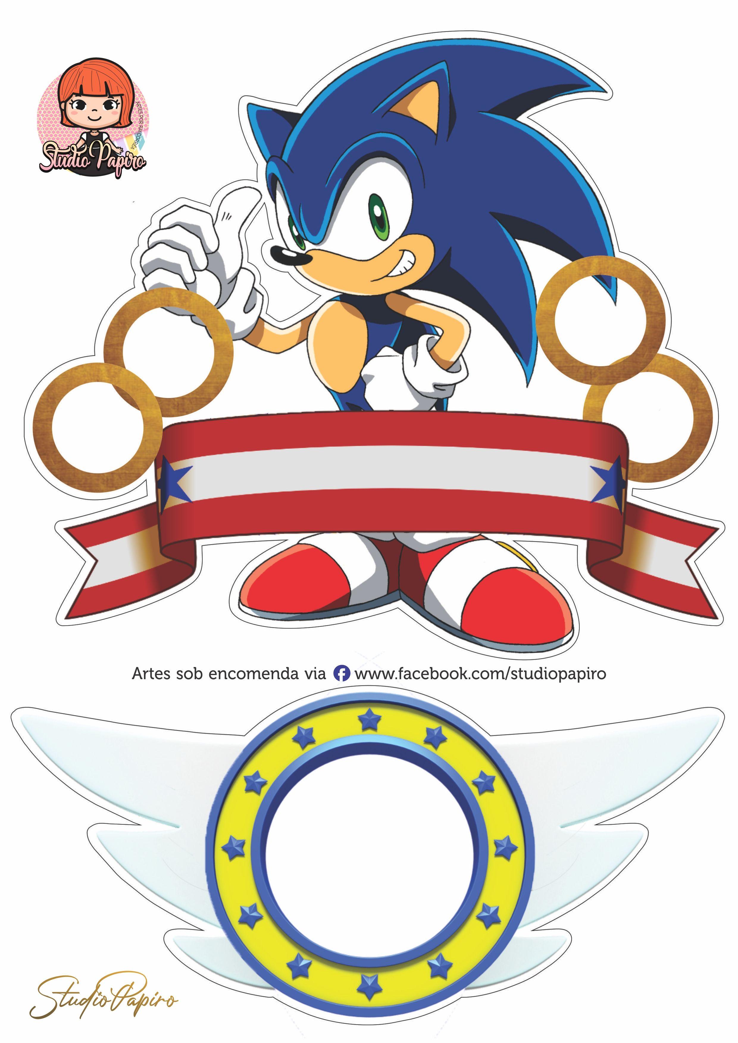 Topo De Bolo Sonic The Hedgehog Para Imprimir Festas De Aniversario Do Sonic Aniversario Do Sonic Enfeites De Aniversario