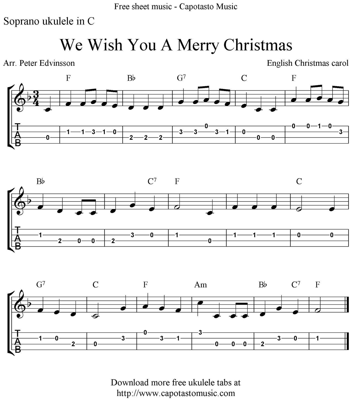 Free Sheet Music Scores: We Wish You A Merry Christmas, free Christmas ukulele tabs sheet music ...