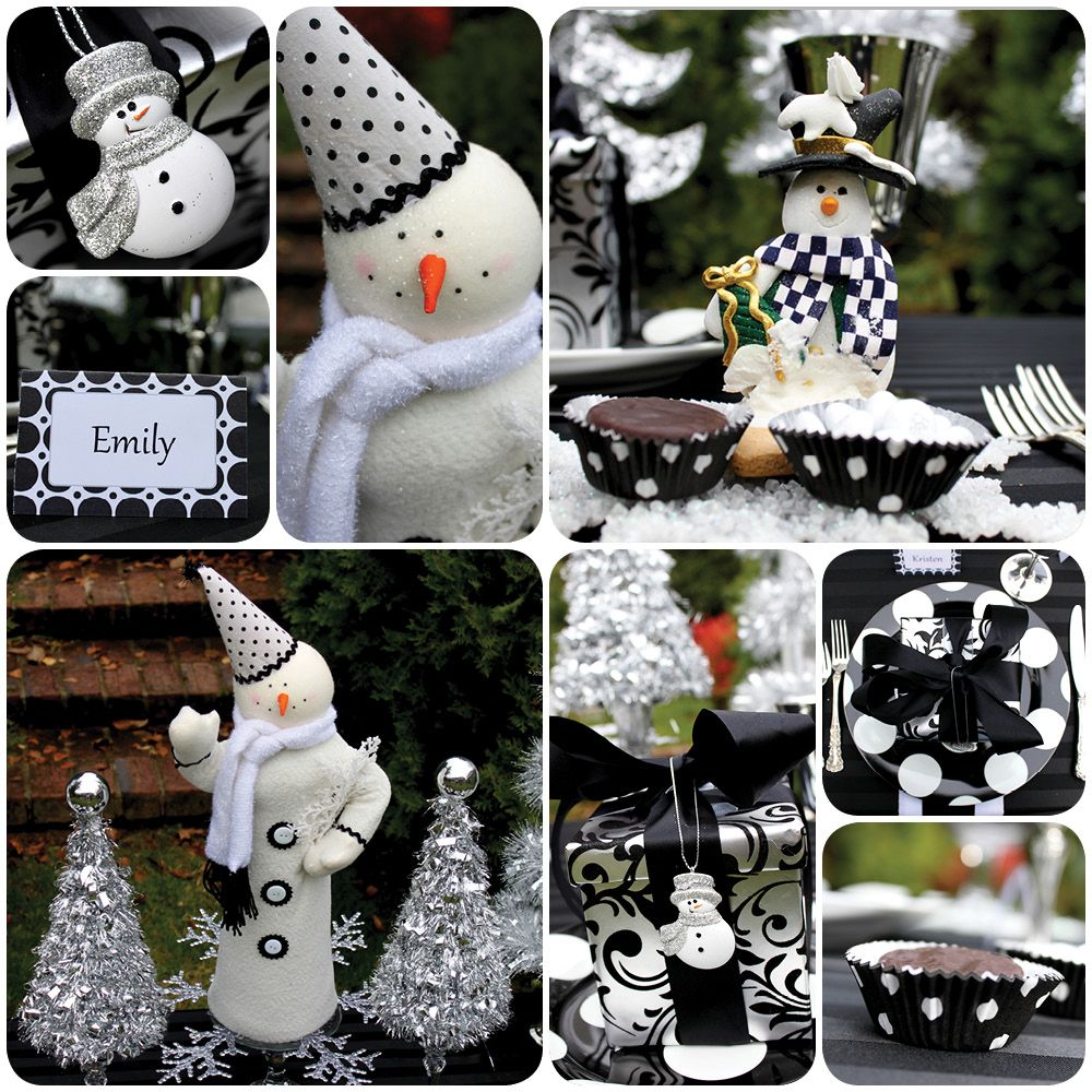 Black And White Christmas Party Ideas Part - 16: Black And White Snowman Party