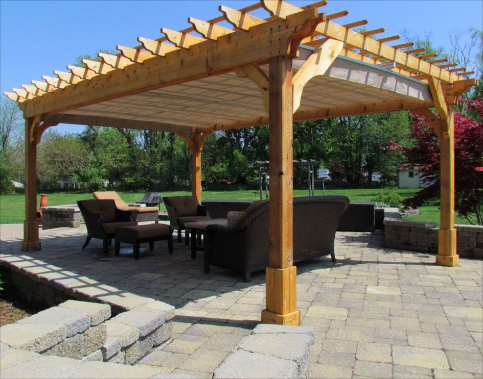 Picturesque Cedar Wood Patio Cover for Square Pergola Plans with Light Brown Canvas Canopy also Vintage Outdoor Rattan Furniture Above Concrete Block Pavers ... & Cool Backyard Canopy - http://famousloveguru.com/cool-backyard ...