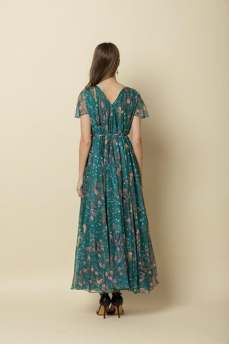 green party dress with sleeves