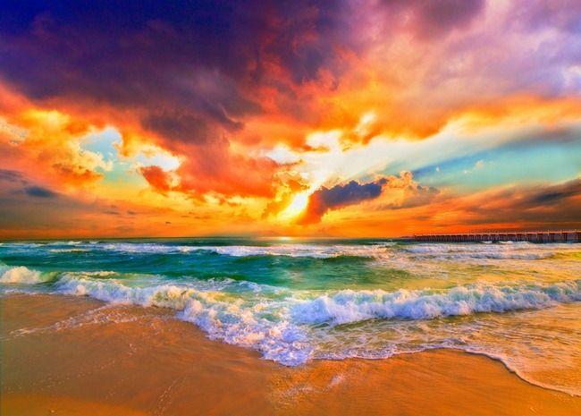 Red Orange Purple Sunset Green Sea Waves Art Print By Eszra Tanner Sunset Art Sunset Wall Art Beach Art