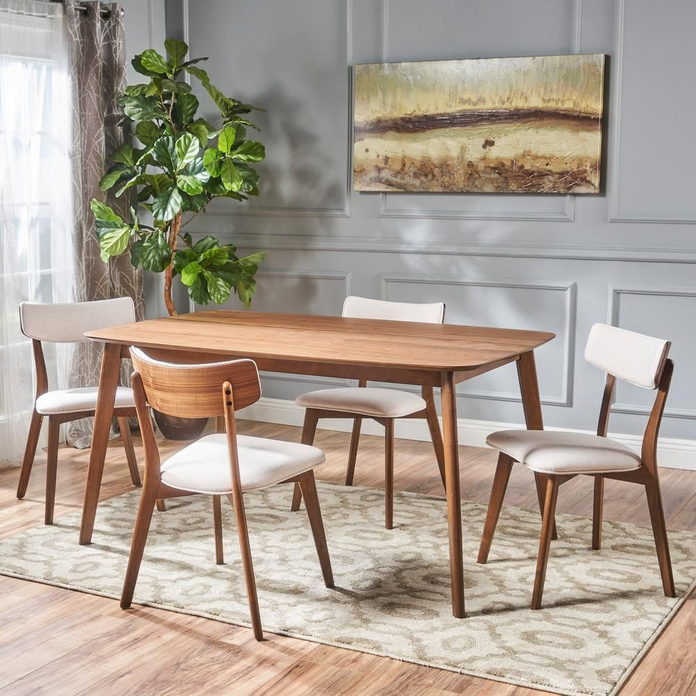 Noble House Alma 5 Piece Natural Walnut And Light Beige Dining Set In 2020 Mid Century Dining Set Rectangle Dining Set Mid Century Modern Dining Set