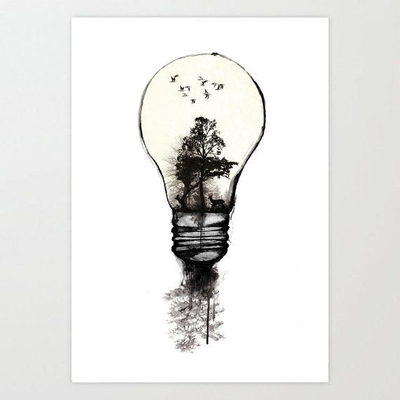 Cool Tree In A Light Bulb Tattoo Idea