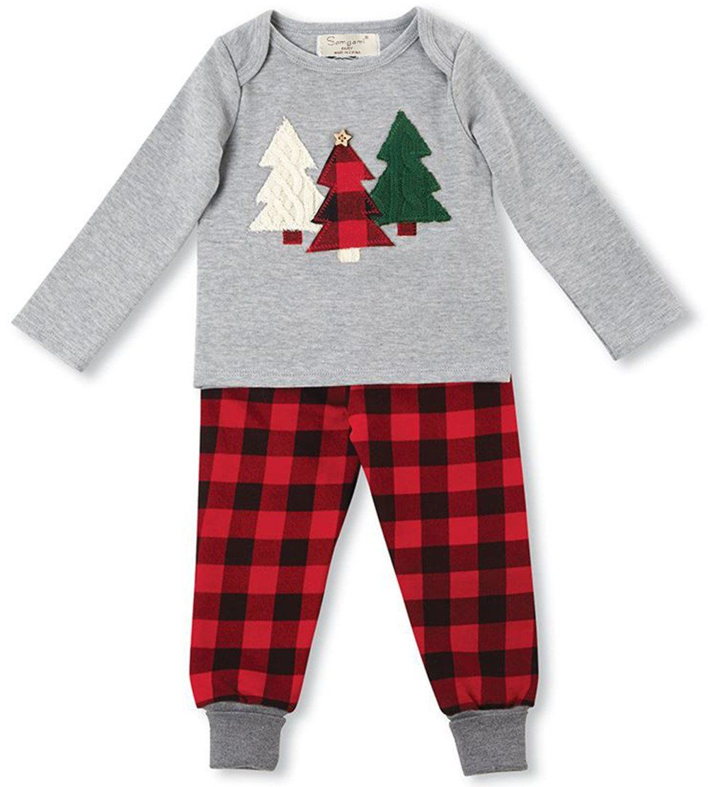 ff9dd41f5bdcf Kids Baby Boys Girls Christmas Tree Cotton Tops Plaid Pants Outfit Clothes  Set size 80/