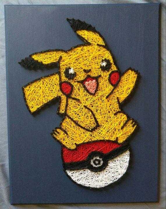 Pokemon Go Pikachu Pokeball String Art | String art, Change colour ...