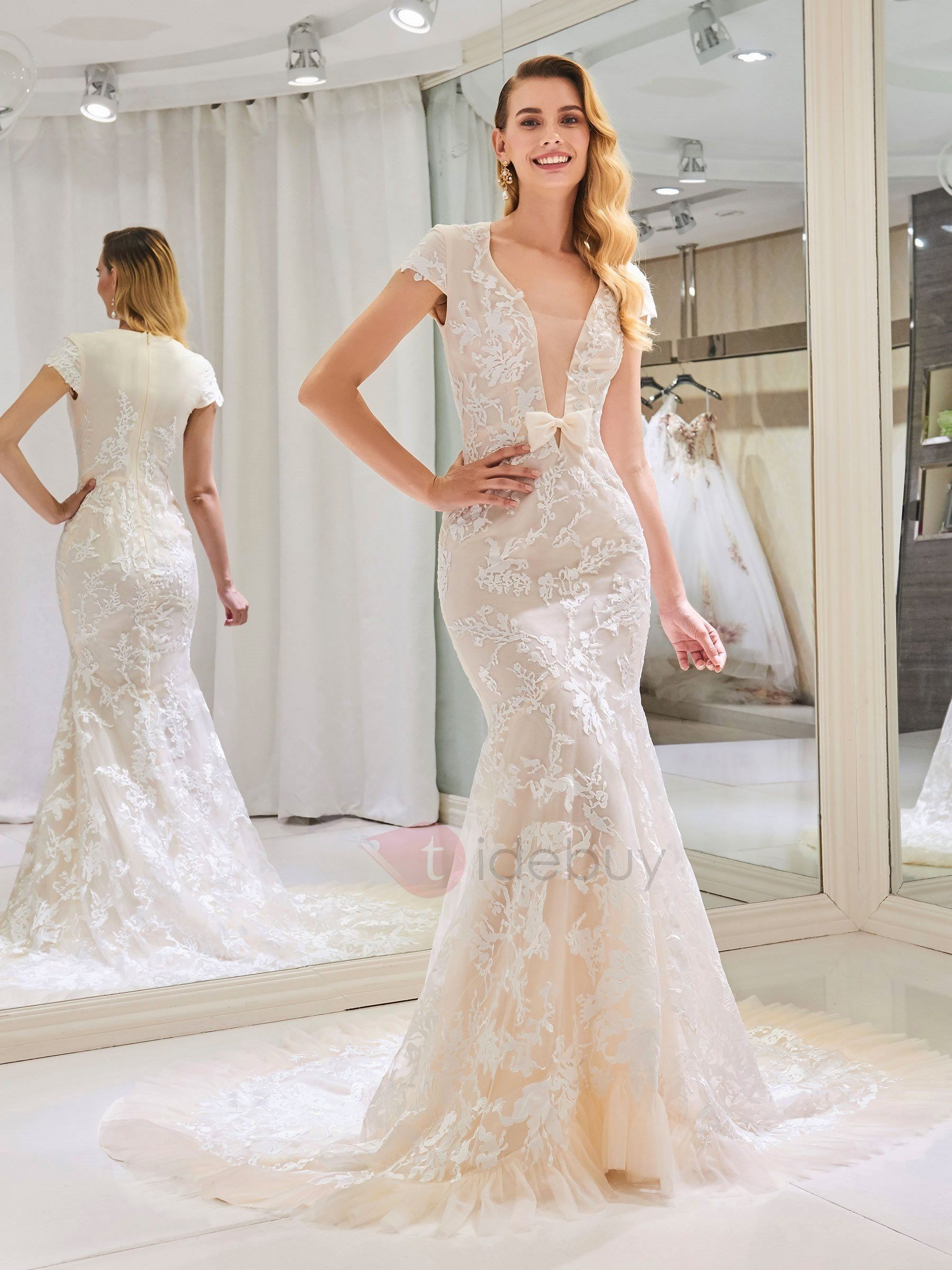 V Neck Cap Sleeve Appliques Lace Mermaid Wedding Dress Wedding Dress Cap Sleeves Wedding Cap Sleeves Outdoor Wedding Dress [ 2400 x 1800 Pixel ]