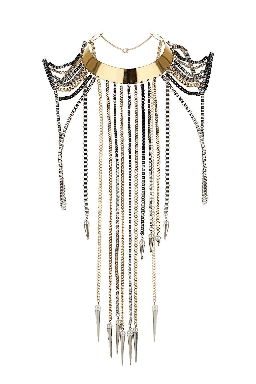Topshop Premium bow spike shoulder necklace