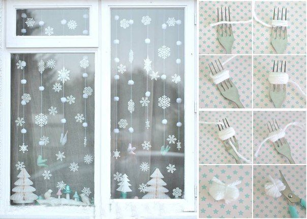 Make Garlands With Snowflakes And Yarn Christmas Ideas