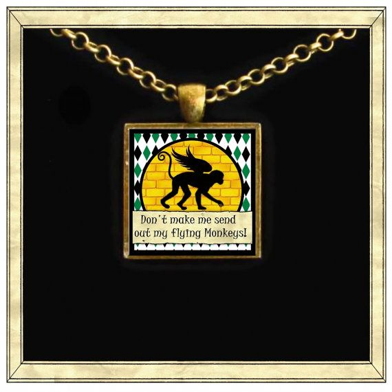 flying monkey  Handmade pendant bezel with glass by IttyBaubles, $13.95