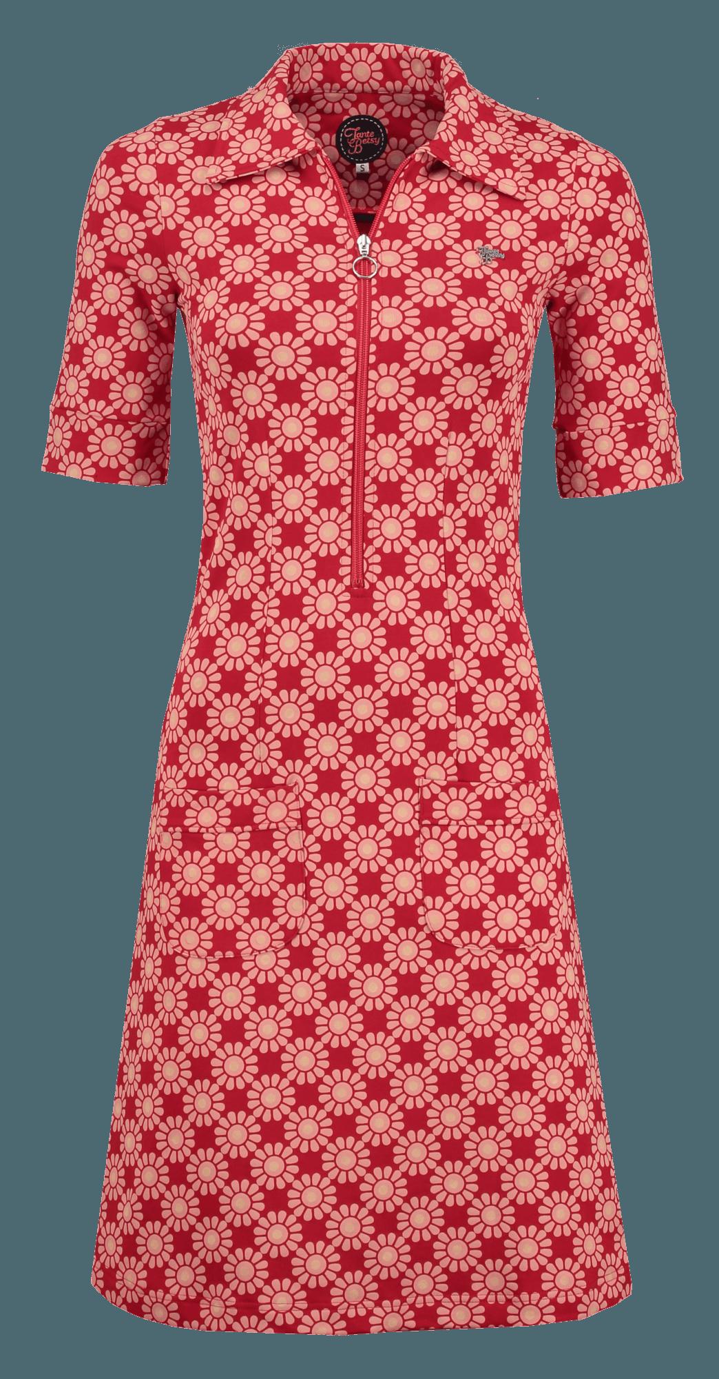 Tante Betsy zippie sunny print dress red jurk zon print rood ...