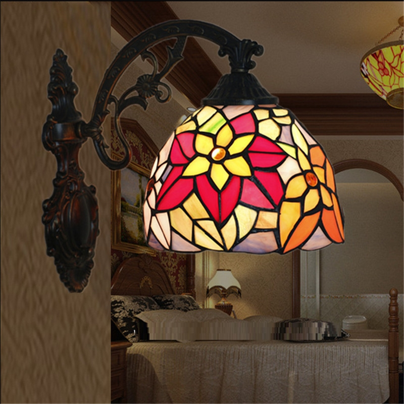 69.90$  Watch now - http://aiacy.worlditems.win/all/product.php?id=32670293048 - Tiffany wall lamp, Baroque wall lamp ,20cm multi color flower wall mounted tiffany light for balcony,bedroom, corridor TEN-W-015