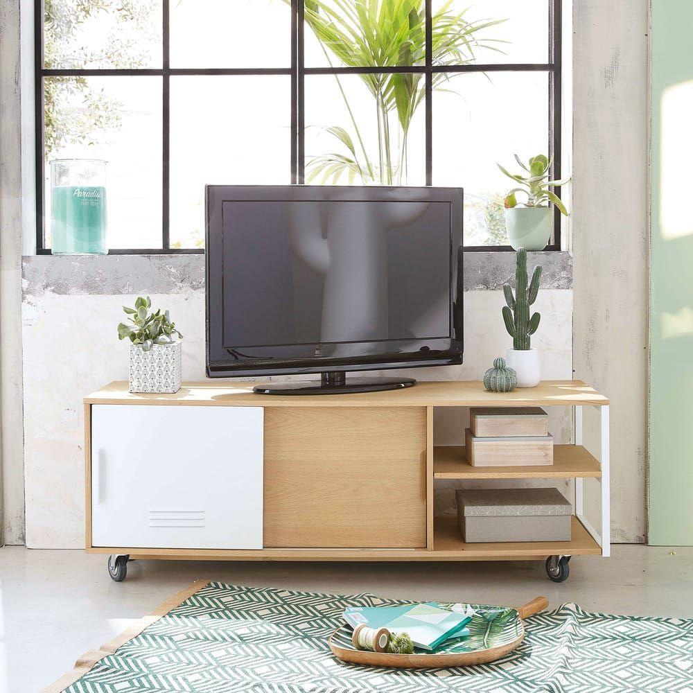 Meuble Tv Indus A Roulettes 2 Portes Pilea Tv Mobel Rollen