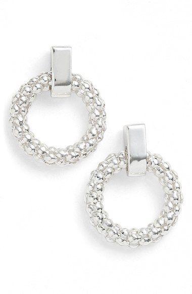 Anne Klein Beaded Hoop Stud Earrings