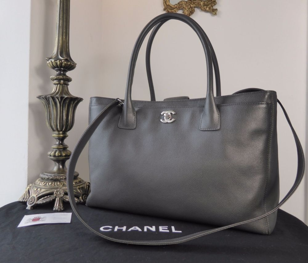 79eea616767de0 Chanel Cerf Executive Tote in Charcoal Grey Calfskin with Silver Hardware  > https:/