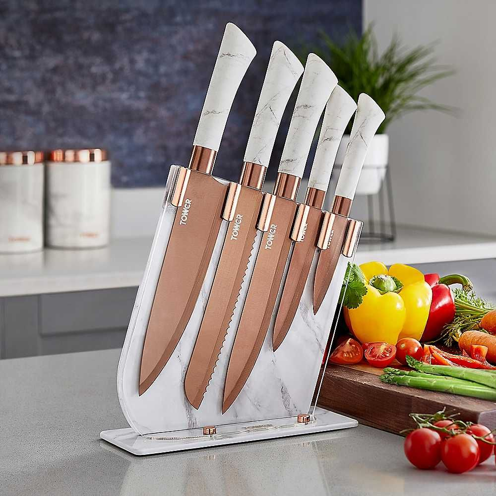 Tower Marble Range 5 Piece Damascus Style Knife Set With Acrylic Stand Knife Sets Knife Chef Knife