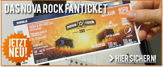 Aufgepasst! Nur noch bis 1. Juni, 17:00 habt ihr die Chance, das offizielle NOVA ROCK Festival FAN-TICKET exklusiv online bei den Kollegen von oeticket.com sowie MUSICTICKET.at zu kaufen!   Schnell ran an die Tasten: http://bit.ly/1eUKED6